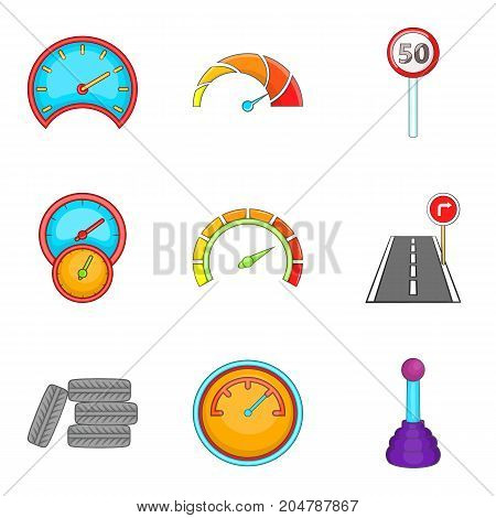 Speedometer icons set. Cartoon set of 9 speedometer vector icons for web isolated on white background