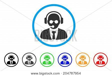 Support Manager rounded icon. Style is a flat support manager grey symbol inside light blue circle with black, gray, green, blue, red, orange versions. Vector designed for web and software interfaces.