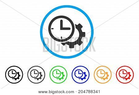 Time Setup Gear rounded icon. Style is a flat time setup gear grey symbol inside light blue circle with black, gray, green, blue, red, orange variants. Vector designed for web and software interfaces.