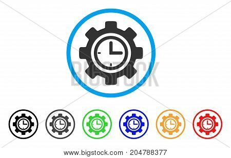 Time Setup Gear rounded icon. Style is a flat time setup gear gray symbol inside light blue circle with black, gray, green, blue, red, orange variants. Vector designed for web and software interfaces.