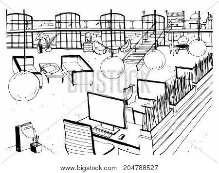 Monochrome drawing of interior of open co-working space with desks, computers, chairs and other modern furnishings. Hand drawn sketch of working environment or large office. Vector illustration