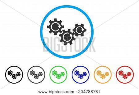 Transmission Gears Rotation rounded icon. Style is a flat transmission gears rotation grey symbol inside light blue circle with black, gray, green, blue, red, orange variants.