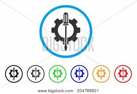 Tuning Options Gear rounded icon. Style is a flat tuning options gear gray symbol inside light blue circle with black, gray, green, blue, red, orange variants.