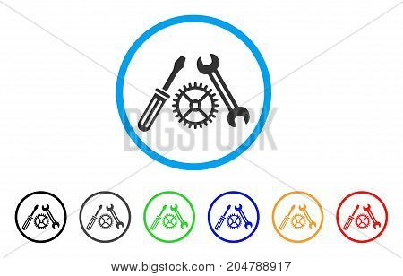 Tuning Service rounded icon. Style is a flat tuning service grey symbol inside light blue circle with black, gray, green, blue, red, orange color versions.