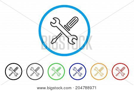 Tuning Tools rounded icon. Style is a flat tuning tools grey symbol inside light blue circle with black, gray, green, blue, red, orange variants. Vector designed for web and software interfaces.