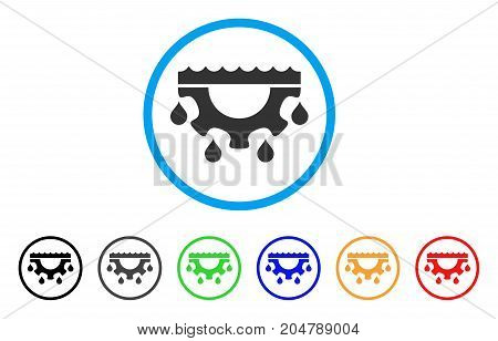 Water Gear Drops rounded icon. Style is a flat water gear drops gray symbol inside light blue circle with black, gray, green, blue, red, orange color versions.