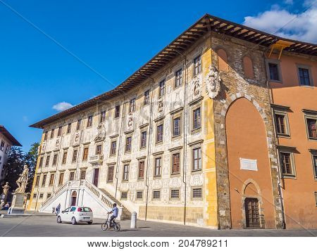 Amazing mansion at Cavalieri Square in Pisa - The Carovana Palace called Scuola Normale Superiore University - Tuscany Italy - PISA TUSCANY ITALY - SEPTEMBER 13, 2017