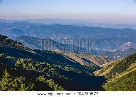 Beautiful mountain scenery in Serbia during the summer