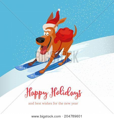 Skiing cute dog with sack of gifts. Puppy pet on mountain ski in Santa hat. Vector cartoon domestic animal. Happy holiday winter season greeting card. Design idea advertisement fun banner background