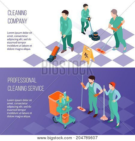 Professional industrial deep cleaning company team equipment and services 2 horizontal isometric banners set isolated vector illustration