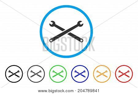 Wrenches rounded icon. Style is a flat wrenches grey symbol inside light blue circle with black, gray, green, blue, red, orange color versions. Vector designed for web and software interfaces.