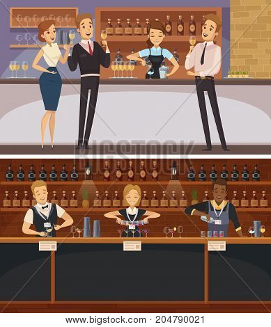 Party in bar interior cartoon horizontal banners with bartenders and guests holding wine glasses flat vector illustration
