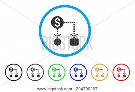 Cashflow Scheme rounded icon. Style is a flat cashflow scheme gray symbol inside light blue circle with black, gray, green, blue, red, orange variants. Vector designed for web and software interfaces.
