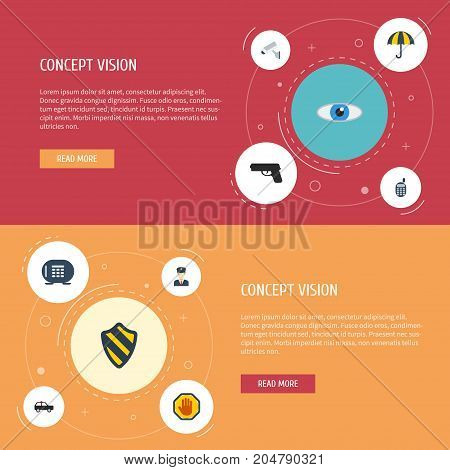 Flat Icons Camera, Walkie-Talkie, Armored Car And Other Vector Elements