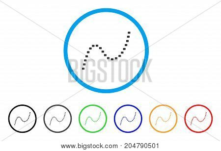 Dotted Curve rounded icon. Style is a flat dotted curve grey symbol inside light blue circle with black, gray, green, blue, red, orange variants. Vector designed for web and software interfaces.