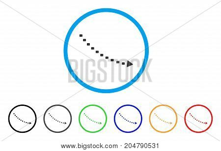 Dotted Decline Trend rounded icon. Style is a flat dotted decline trend grey symbol inside light blue circle with black, gray, green, blue, red, orange variants.