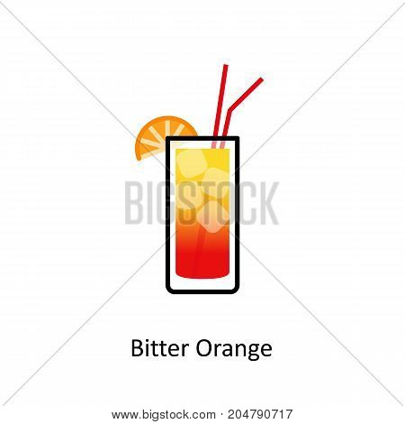 Bitter Orange cocktail icon in flat style. Vector illustration