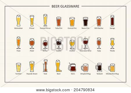 Beer glassware guide, colored icons. Horizontal orientation. Vector illustration