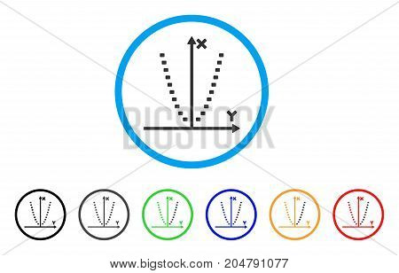 Dotted Parabola Plot rounded icon. Style is a flat dotted parabola plot gray symbol inside light blue circle with black, gray, green, blue, red, orange variants.
