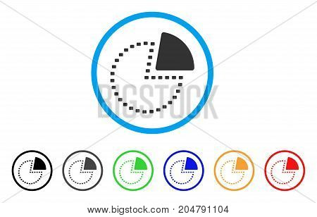 Dotted Pie Chart rounded icon. Style is a flat dotted pie chart grey symbol inside light blue circle with black, gray, green, blue, red, orange color versions.