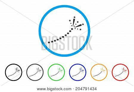 Fireworks Trace rounded icon. Style is a flat fireworks trace gray symbol inside light blue circle with black, gray, green, blue, red, orange versions. Vector designed for web and software interfaces.