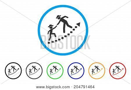 Gentlemen Education Growth rounded icon. Style is a flat gentlemen education growth grey symbol inside light blue circle with black, gray, green, blue, red, orange versions.