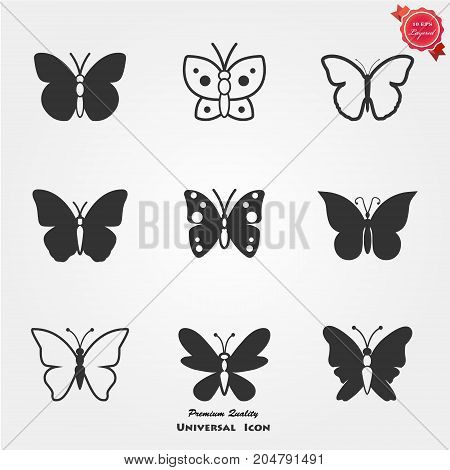 Set of nine black butterflies silhouette. Butterfly icons
