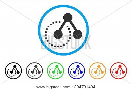 Molecule Structure Analysis rounded icon. Style is a flat molecule structure analysis grey symbol inside light blue circle with black, gray, green, blue, red, orange versions.