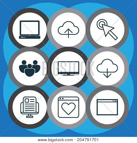 Internet Icons Set. Collection Of Cursor, Followed, Team And Other Elements