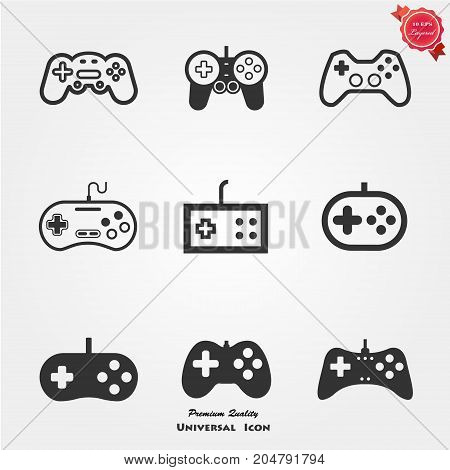 Illustration of Flat Game pad Icon Vector Symbol Background