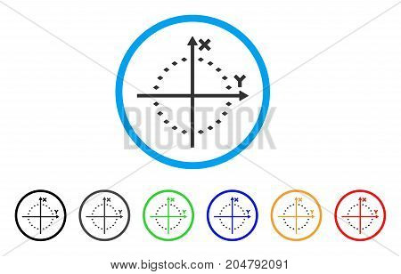 Dotted Circle Plot rounded icon. Style is a flat dotted circle plot gray symbol inside light blue circle with black, gray, green, blue, red, orange color versions.