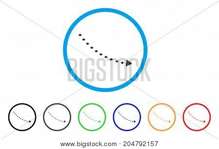 Dotted Decline Trend rounded icon. Style is a flat dotted decline trend grey symbol inside light blue circle with black, gray, green, blue, red, orange versions.