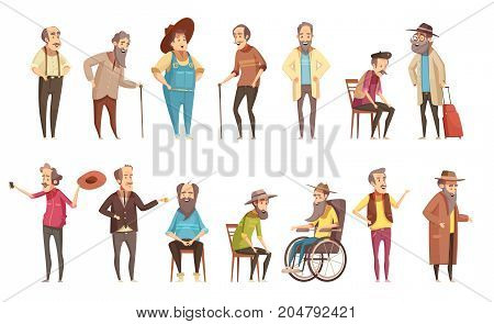Senior man old disable citizens with walking cane retro cartoon icons 2 banners set isolated vector illustration