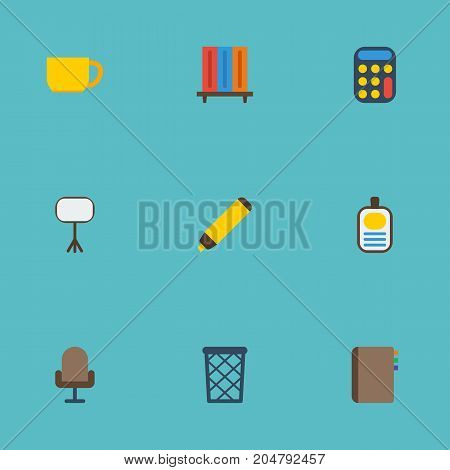 Flat Icons Trash Basket, Identification, Bookshop And Other Vector Elements