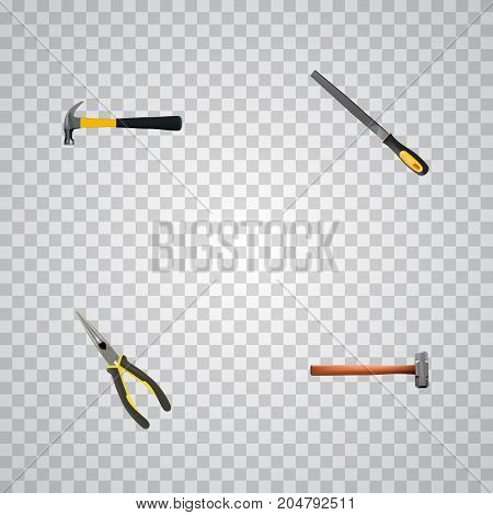 Set Of Tools Realistic Symbols Also Includes Claw, Emery, Hammer Objects.  Realistic Handle Hit, Sharpener, Nippers Vector Elements.