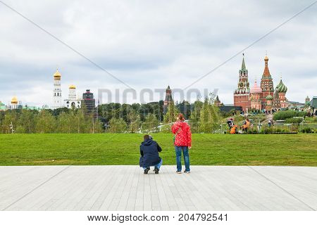 Family On Amphitheater Stage In Zaryadye Park