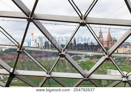 Kremlin Towers And Cathedral Through On Glass Roof
