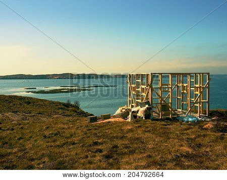 Building Of Bird Observation Tower, Stony Island Norway. Wooden Construction Of Tower