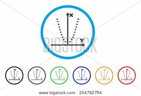 Dotted Parabola Plot rounded icon. Style is a flat dotted parabola plot grey symbol inside light blue circle with black, gray, green, blue, red, orange variants.