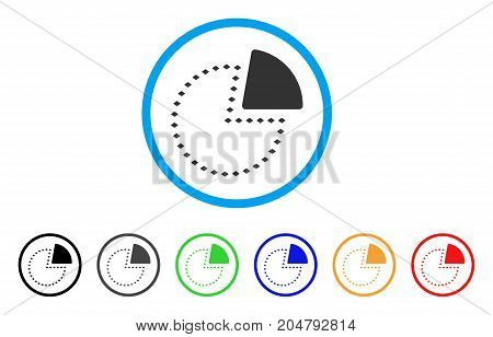 Dotted Pie Chart rounded icon. Style is a flat dotted pie chart gray symbol inside light blue circle with black, gray, green, blue, red, orange color versions.