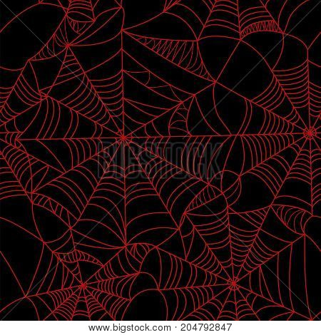 Halloween spider web Red on black background seamless pattern. Stock vector. Bloody background