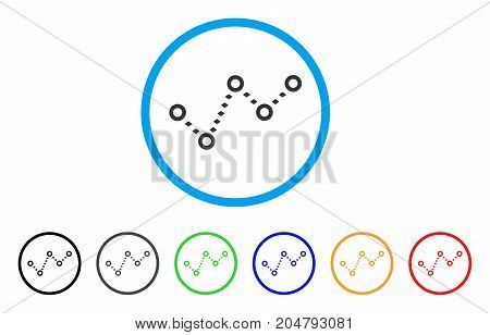 Dotted Trend rounded icon. Style is a flat dotted trend gray symbol inside light blue circle with black, gray, green, blue, red, orange variants. Vector designed for web and software interfaces.