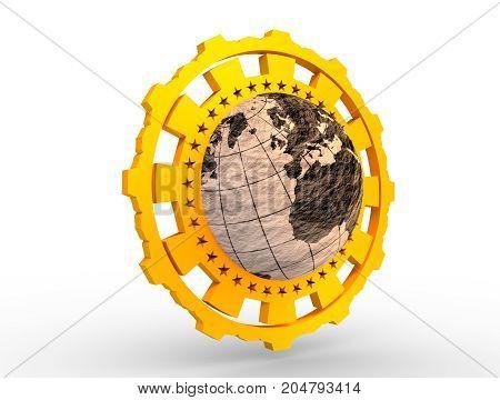 Earth globe in gear shape emblem. Crumpled paper map. 3D rendering