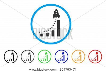 Rocket Business Bar Chart rounded icon. Style is a flat rocket business bar chart gray symbol inside light blue circle with black, gray, green, blue, red, orange variants.