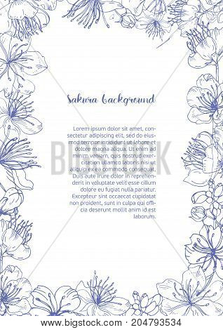 Monochrome background with floral frame consisted of beautiful blooming flowers and buds of Japanese sakura hand drawn with contour lines and place for text in center. Botanical vector illustration
