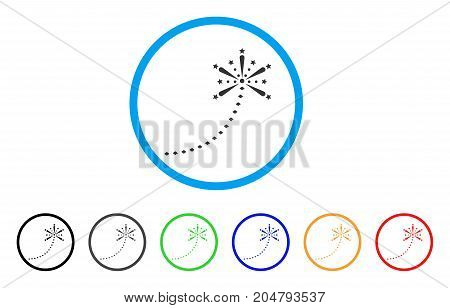 Salute Fireworks Trace rounded icon. Style is a flat salute fireworks trace grey symbol inside light blue circle with black, gray, green, blue, red, orange variants.
