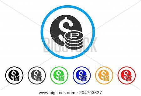 Dollar And Rouble Coins rounded icon. Style is a flat dollar and rouble coins grey symbol inside light blue circle with black, gray, green, blue, red, orange variants.