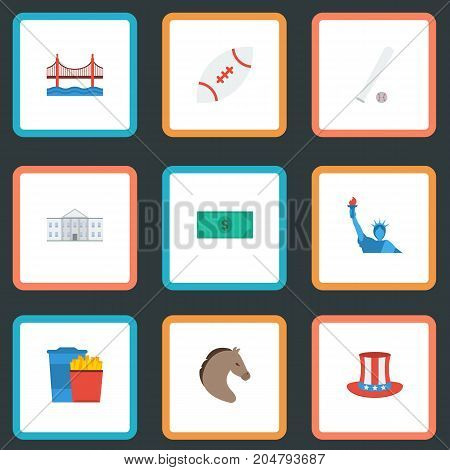 Flat Icons White House, Greenback, Freedom Monument And Other Vector Elements
