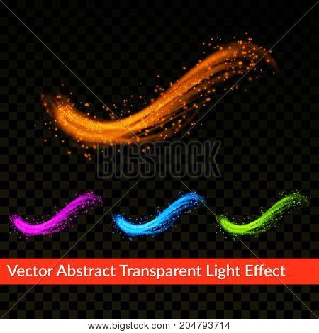 Bright colorful transparent realistic splash effect template. Swoosh glitter liquid wave line with flying sparkling flash lights. Magic glowing spark swirl trail background. Vector illustration