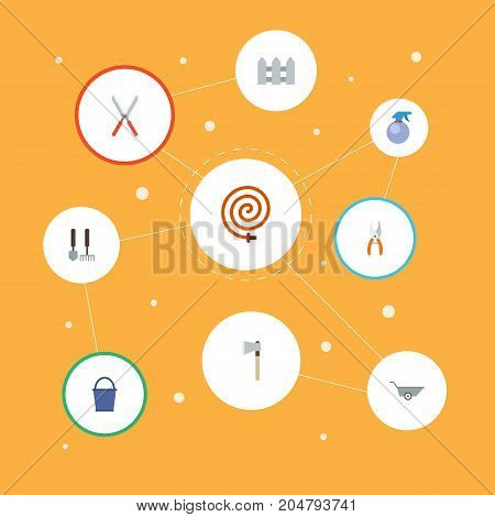 Flat Icons Garden Hose, Wheelbarrow, Pruner And Other Vector Elements